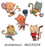 vector set of cute cats of... | Shutterstock .eps vector #482153149