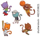 vector set of cute cats of...   Shutterstock .eps vector #482153821
