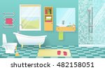 modern bathroom interior with... | Shutterstock .eps vector #482158051