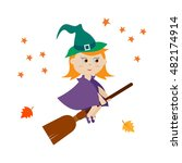 cute witch flying on a broom | Shutterstock .eps vector #482174914