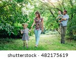 young happy family of four... | Shutterstock . vector #482175619