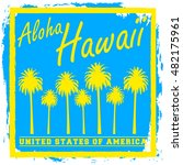 hawaii. typography  t shirt... | Shutterstock .eps vector #482175961