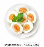 Plate Of Boiled Eggs Isolated...