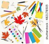 back to school. stationary...   Shutterstock .eps vector #482178505