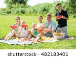 happy man and woman with four... | Shutterstock . vector #482183401