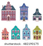 set of colorful houses in the... | Shutterstock .eps vector #482190175