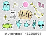 fashion quirky cartoon doodle... | Shutterstock .eps vector #482200939