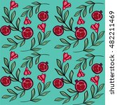 pomegranate flowers vector... | Shutterstock .eps vector #482211469