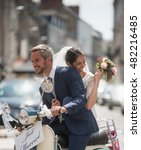 in the city. newlyweds having... | Shutterstock . vector #482216485