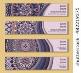 banner card set with floral... | Shutterstock .eps vector #482219275