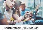 closeup group young business... | Shutterstock . vector #482235634