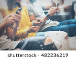closeup group adult hipsters... | Shutterstock . vector #482236219