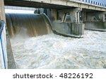 Dam in Wloclawek, river Vistula - hydroelectric. Poland - stock photo
