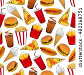 junk food seamless pattern with ... | Shutterstock .eps vector #482268751