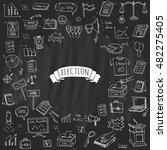 hand drawn doodle vote icons... | Shutterstock .eps vector #482275405