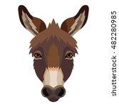 Vector Cute Donkey Face Animal...