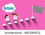 businessman climbing ladder to...   Shutterstock .eps vector #482284921
