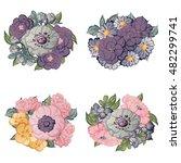 flower set | Shutterstock .eps vector #482299741