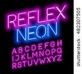 reflex neon font vector... | Shutterstock .eps vector #482307505