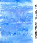 watercolor painting. blue... | Shutterstock . vector #482307745