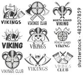 vector set of vikings labels in ... | Shutterstock .eps vector #482307859