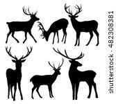deer silhouette   vector... | Shutterstock .eps vector #482308381