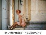 woman with dyed red hair in a... | Shutterstock . vector #482309149