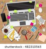 creative mess on wooden desk.... | Shutterstock .eps vector #482310565