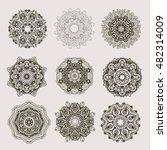 set  of outline mandalas.  boho ... | Shutterstock .eps vector #482314009