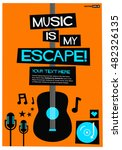 music is my escape   flat style ... | Shutterstock .eps vector #482326135