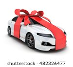 Stock photo car gift and ribbon on white background done in d rendering 482326477