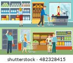 buyers in supermarket concepts... | Shutterstock .eps vector #482328415
