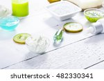 beauty products with kiwi fruit ... | Shutterstock . vector #482330341