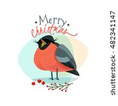 christmas logo with funny... | Shutterstock . vector #482341147