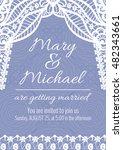 vector wedding invitation card. ... | Shutterstock .eps vector #482343661