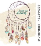 bohemian ethnic dream catcher... | Shutterstock .eps vector #482344339