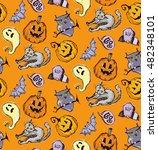 seamless pattern for halloween. ... | Shutterstock .eps vector #482348101