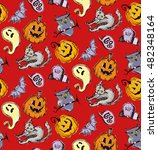 seamless pattern for halloween. ... | Shutterstock .eps vector #482348164