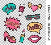 vector colorful quirky patches... | Shutterstock .eps vector #482349565