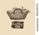 vector organic vegetables logo. ...   Shutterstock .eps vector #482349574