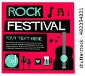 rock festival   flat style... | Shutterstock .eps vector #482354821