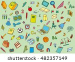 background of school supplies... | Shutterstock .eps vector #482357149