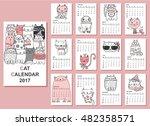 calendar 2017. cute cats for... | Shutterstock .eps vector #482358571