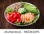 healthy salad bowl with quinoa  ... | Shutterstock . vector #482361691