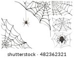 web and black poisonous spider. ... | Shutterstock . vector #482362321