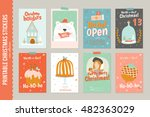 collection of 8 christmas gift... | Shutterstock .eps vector #482363029