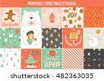 collection of 15 christmas gift ... | Shutterstock .eps vector #482363035