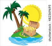 treasure in tropical island | Shutterstock . vector #482369695