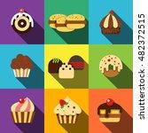 cake flat icons set elements ...
