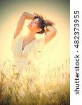 pretty happy woman in bright... | Shutterstock . vector #482373955